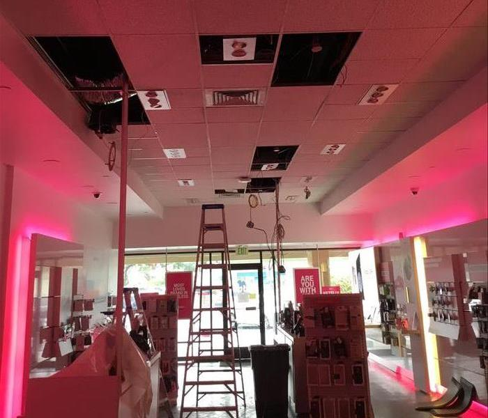 Ceiling Panels taken out at commercial business